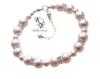 Bridesmaid Bracelet, Choice of Color, Wedding Jewelry, Prom Jewelry, Pearl Wedding Jewelry, Bridal Party Jewelry, Bridal Bracelet