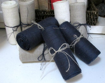 "Navy Blue Burlap, Navy Blue Burlap Ribbon, Primitive Garland 6"" Wide, Craft Supply, Primitive Burlap Garland 3 yds"