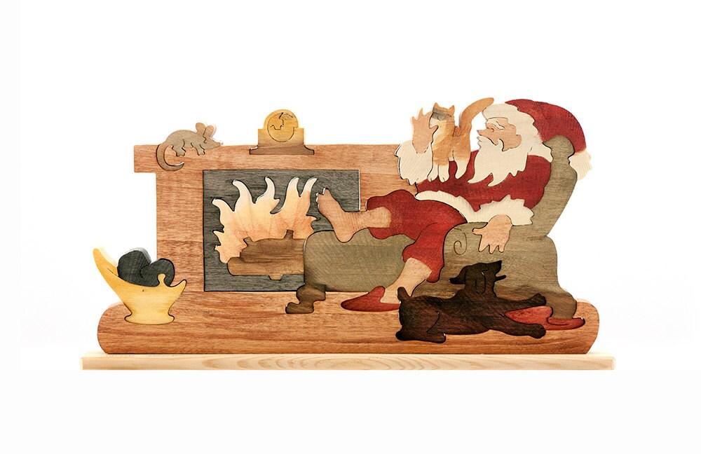 Vintage Wood 3 D Puzzle Christmas Santa Fireplace Cat Dog