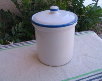 Vintage White and Blue Glazed Stoneware/Pottery/Crock with Lid