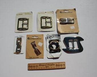 Vintage Metal Belt Buckles NOS Unused Craft Jewelry Making Supplies Steampunk Lot of 7