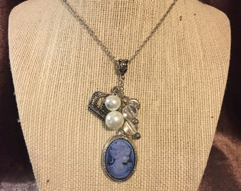 Blue Cameo Cluster Necklace