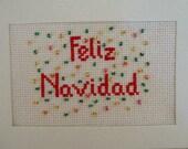 Christmas Cross Stitch Card, Feliz Navidad, Card in Spanish, All Handmade, Ready to Ship