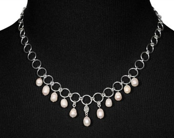 Freshwater Rings Collier Necklace | silverplated