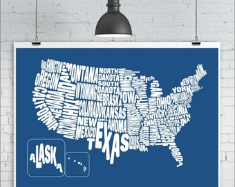 United States Map Print - Typography Map of the United States of America, Map Art Print, A2 size (24in x 16.5in approx.) USA US States