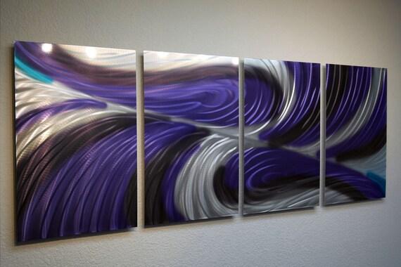 Metal Wall Art Decor Aluminum Abstract Contemporary Modern Sculpture Hanging Zen Textured - Echo Purple