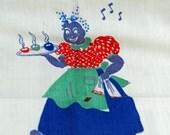 Vintage Kitchen Towel - Tea Towel - 1940s, Black Americana Kitchen Towel #125
