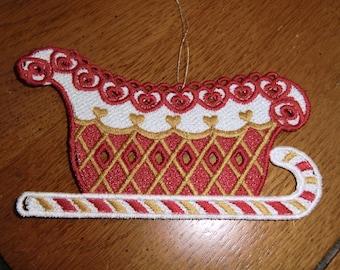 Embroidered Ornament - Christmas - Sleigh