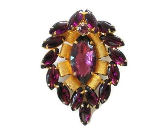 Vintage Gold and Amethyst Purple Glass Pin / Brooch / Pendant