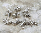 Set of Ten (10) Pewter Bulldog Charms - 5165