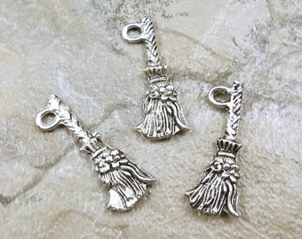 Set of Three (3) Pewter Witch's Broom Charms  - 5207