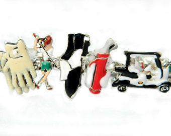 Ladies Golf Bracelet Detailed Vintage Enamel Linked Sports Theme Golf Charm Bracelet Lady Golfer Golf Cart Golf Bag Golf Gloves Golf Shoes