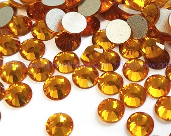 Light Orange Topaz Crystal Flatback Rhinestones 144pcs size available 2mm 3mm 4mm 5mm 6mm