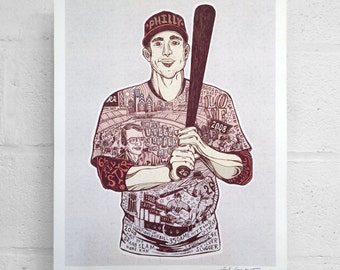 "FREE SHIPPING 16 x 20"" Paul Carpenter Art - Chase Utley Tribute with Harry Kalas - Sports Poster - Philadelphia Art Print"
