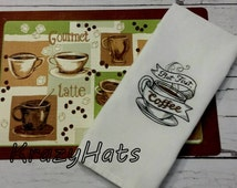Caffe  Machine Embroidery Towel.Embroidery kitchen towels.Kitchen towel.dish towels, fun kitchen towels, embroidery towels.