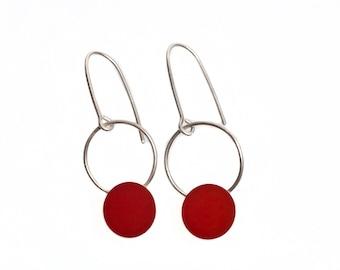 Boho Chic Earrings, Holiday Earrings, Dark Red Earrings, Red Dangle Earrings, Minimalist Jewelry, Gifts for Women, Hoop Earrings