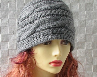 Handmade in Poland, knit Slouchy Beanie slouchy hat knitted hat woman Grey knitting accessories beanie hat