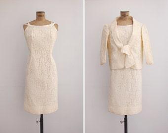 1960s Dress - Vintage 60s Ivory Lace Dress & Jacket - Laredo Dress And Jacket
