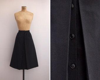 1970s Skirt - Vintage 70s Black Skirt - Corchea Skirt
