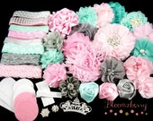 DIY 50 pcs Flower Headband Kit - Aqua/Pink/Gray Color Set - Baby Shower Flower Headband Kit - Flowers ,Elastic,Rhinestones, Felt and Bow