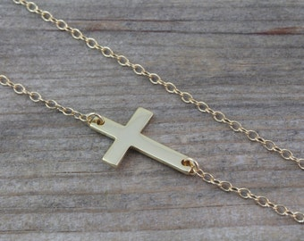 Kelly Ripa Sideways GOLD Cross Necklace, Taylor Jacobson Horizontal Cross Necklace, OR Choose sterling silver Side Cross Necklace