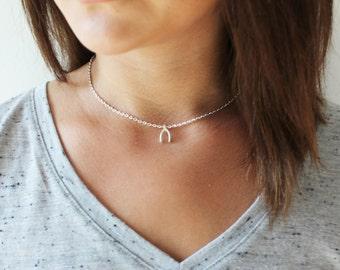 Silver Wishbone Choker Necklace