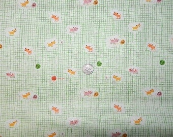 VHTF Heather Ross Tigerlily  Kittens Green on White - FQ 18 inches x 22 inches