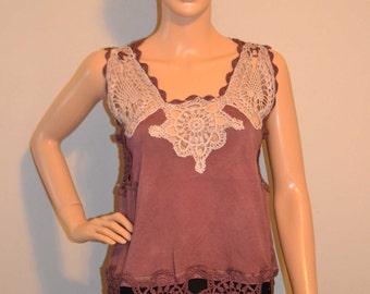 Warm Chocolate Crochet Hand Made Summer Shirt just for you.