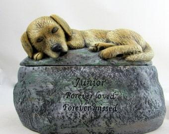 Ceramic Painted Golden Labrador or Retriever Dog Cremation Urn  -Pet hand made urn