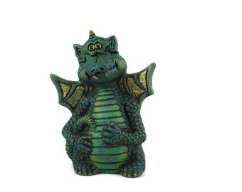 READY TO SHIP Ceramic Little Green Happy Dragon - 5 inches