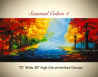 Landscape Abstract Art Original PAINTING on Large canvas by Madhav - Size: 72'' x 30'' (183cm x 76cm)