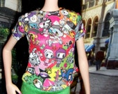 "Printed miniature T Shirt w. Tokidoki characters for 11.5"" Model Muse fashionista silkstone Barbie dolls"