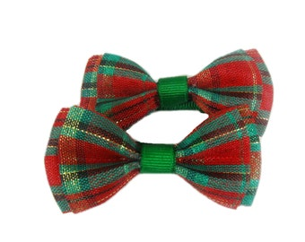 Baby Christmas Hair Bows, Christmas Hair Clips, Matching Pair Hair Bows for Baby, Toddler, Girl Hairbow