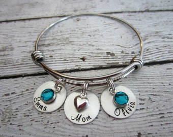 Personalized Charm Bracelet, Charm Bracelet for Mom, Mom Bracelet, Birthstone Bracelet for Mom, Custom Charm Bracelet, Family Jewelry