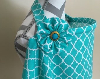 Sale Nursing Cover - Teal lattice print breastfeeding cover with a fabric flower clippie