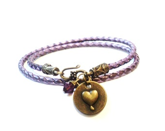 Leather Wrap Bracelet - Anniversary Gifts - Couples Gifts - Aunt Gift - Best Friends - Mom Gift - Amethyst Bracelet - Gift For Her - Sister