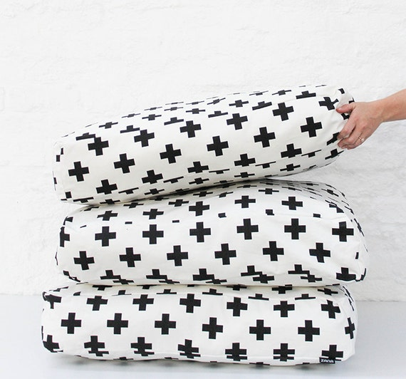 Black Cross on White Pattern Floor Cushion Modern Dog Bed