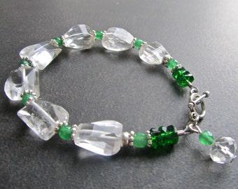 Chunky Rock Crystal Bracelet, Natural Quartz, Step Cut Stones, Emerald Green Jade, Clear Crystal, Statement Bracelet 1058