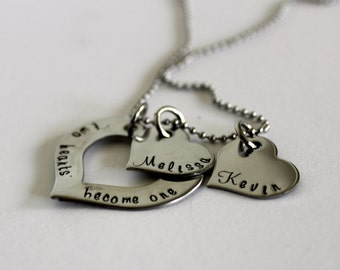 Personalized handstamped stainless steel couples necklace hearts, two hearts become one, personalized necklace, name necklace, name jewelry