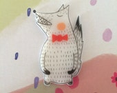 Wolf with Red Bow Tie, Plastic Hand Drawn Brooch, OAK, Handmade jewellery
