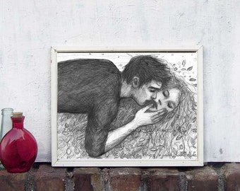 KISS. Valentine Art Print of a Pencil Drawing by Laumee. Black and white Wall Art.