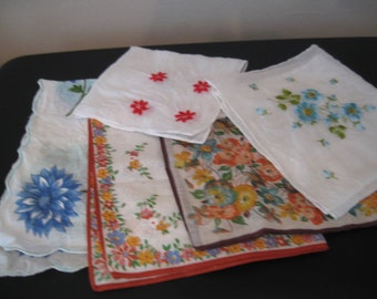 Vintage Ladies Assorted Print and Embroidered Handkerchiefs, Assortment of Five Hankies