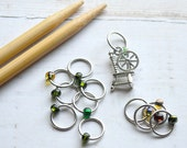 The Spinner / Snag Free Knitting Stitch Markers / Wire Charmed Stitch Markers / Knitting Stitch Markers
