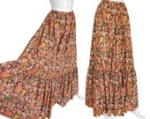 Reserved --- Yves Saint Laurent YSL Vintage Maxi Skirt Floral Printed Cotton US Size 6-8 Small Medium