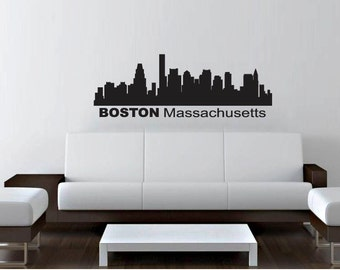 """Wall Decal Sticker Boston Skyline 22"""" Tall 58"""" Wide in White or Black"""