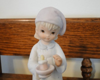 Vintage Lefton Evening Prayer Figurine, Girl in Nightgown & Cap holding Candle Figure, 03851
