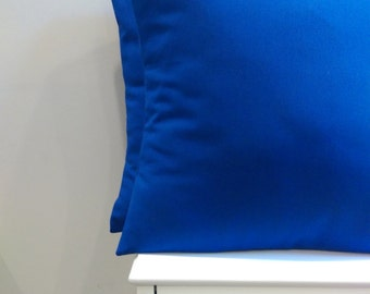 2 Blue Pillow Covers- Solid Blue Decorative Throw Pillows - royal blue pillow covers - cobalt blue 18x18 pillow covers - free shipping