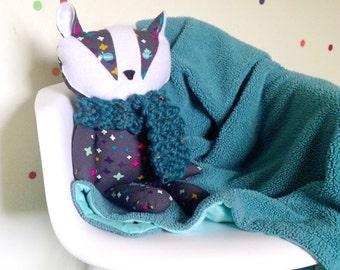 ELLIE- Handmade Organic Cotton Stuffed Badger
