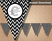 Black Chevron Halloween Bunting Pennant Banner Instant Download, Party Decorations