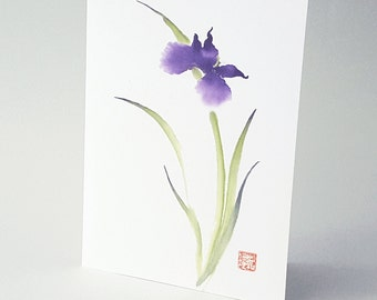 Purple Japanese Iris Blank Art Note Card Set of 8 A2 Size